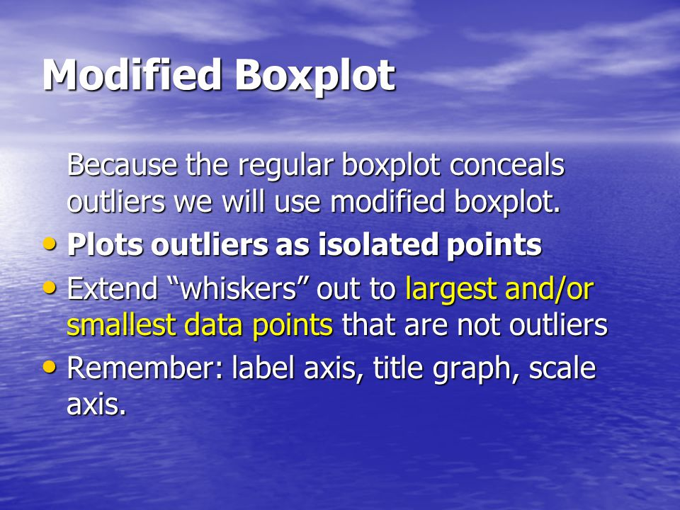 Modified Boxplot Because the regular boxplot conceals outliers we will use modified boxplot. Plots outliers as isolated points.