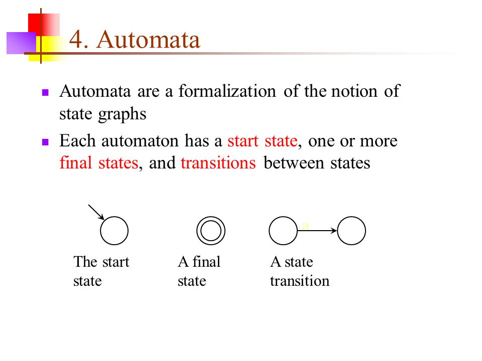 4. Automata Automata are a formalization of the notion of state graphs