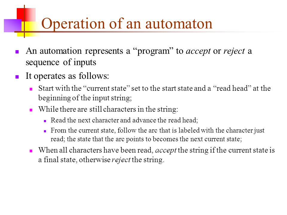 Operation of an automaton