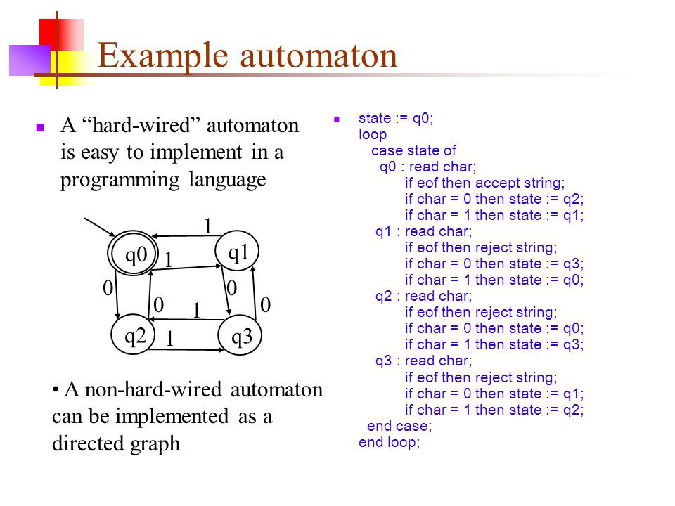 Example automaton A hard-wired automaton is easy to implement in a programming language.