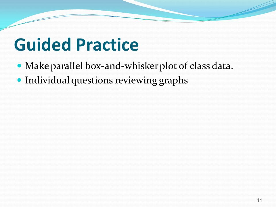 Guided Practice Make parallel box-and-whisker plot of class data.