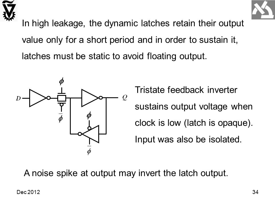 A noise spike at output may invert the latch output.