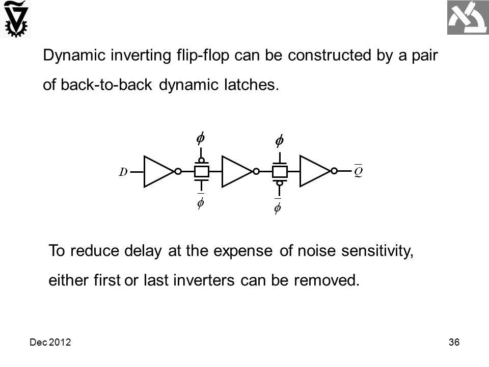 Dynamic inverting flip-flop can be constructed by a pair of back-to-back dynamic latches.