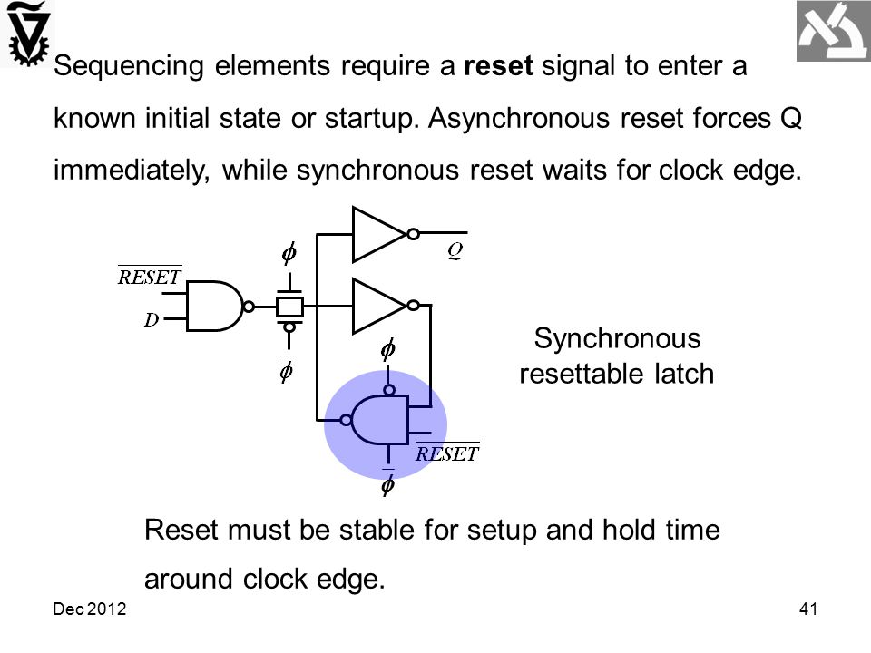 Synchronous resettable latch