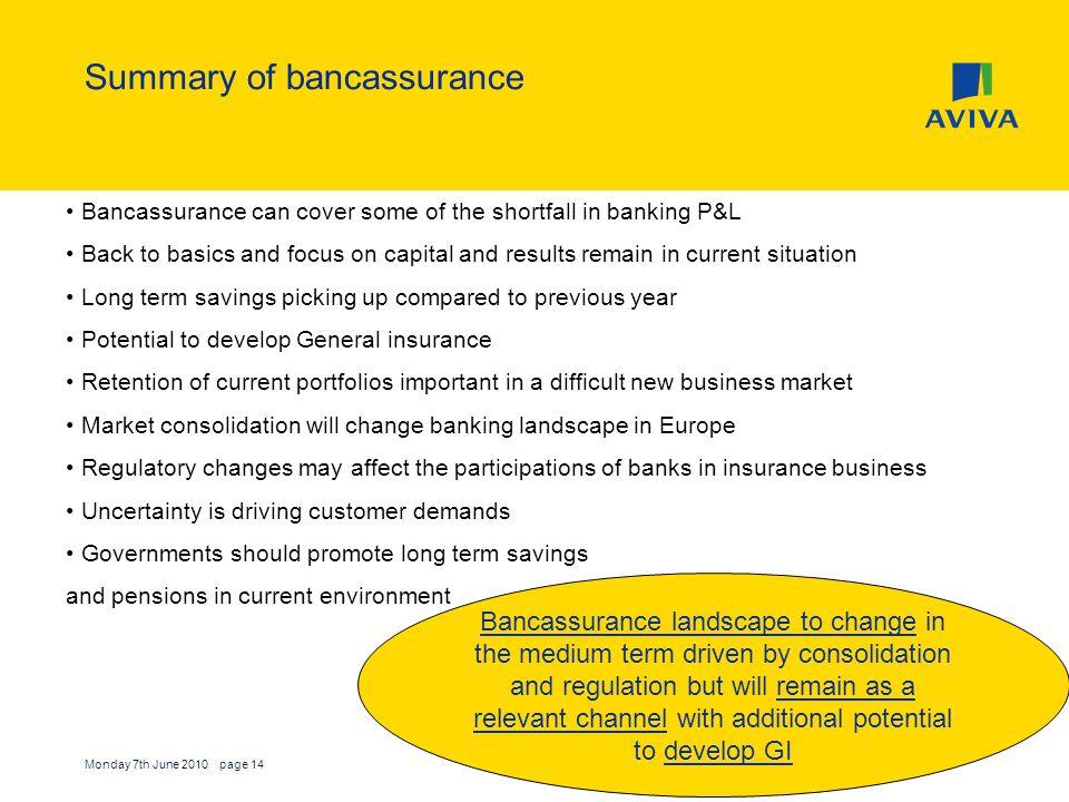 Summary of bancassurance