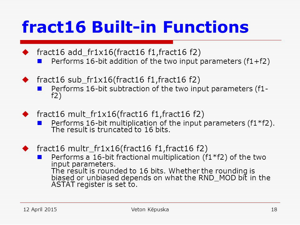 fract16 Built-in Functions