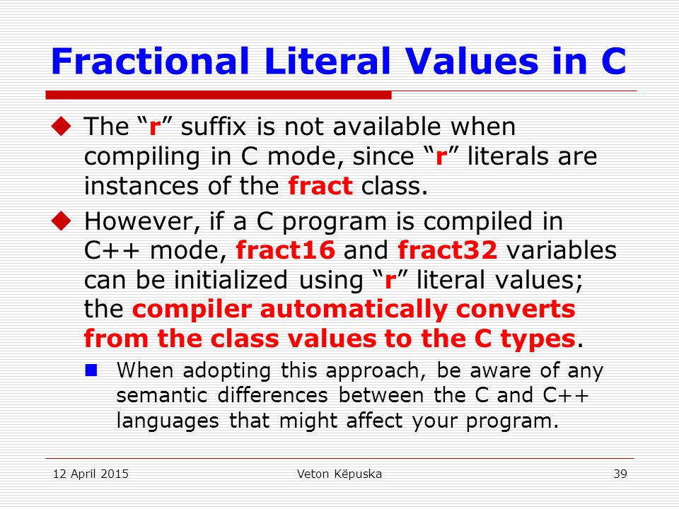 Fractional Literal Values in C