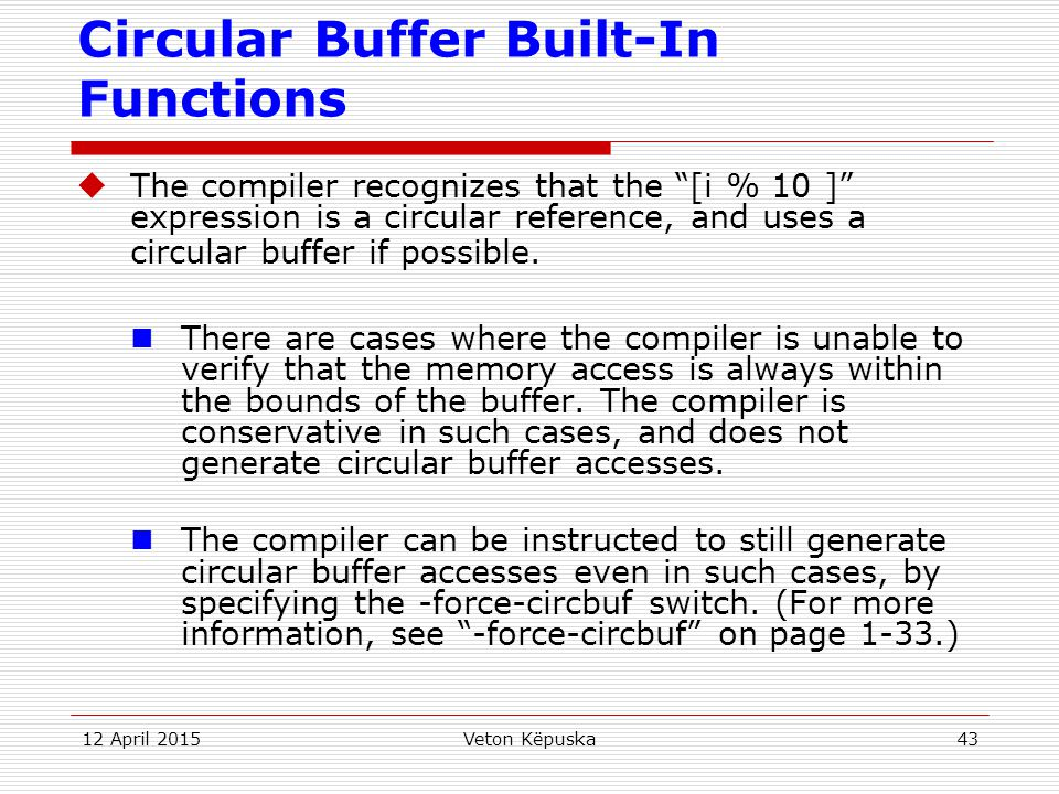 Circular Buffer Built-In Functions