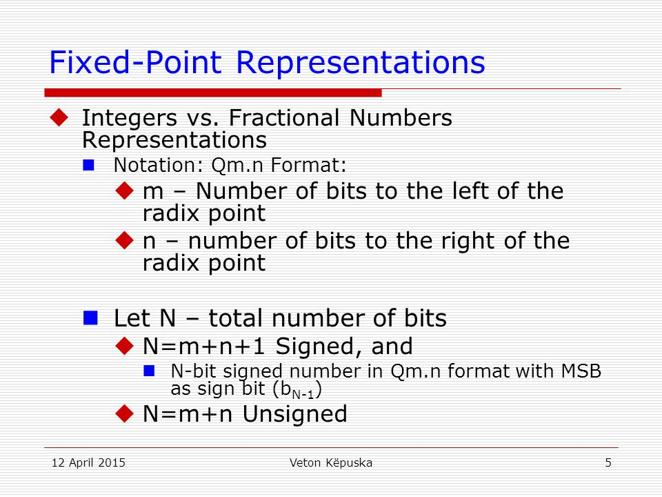 Fixed-Point Representations
