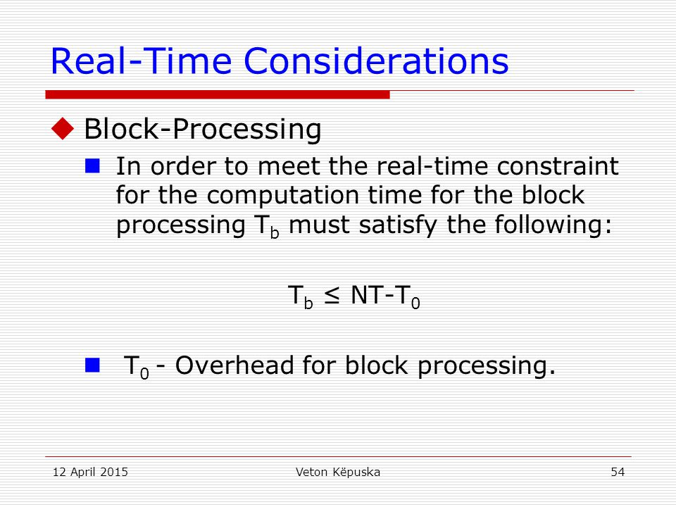 Real-Time Considerations