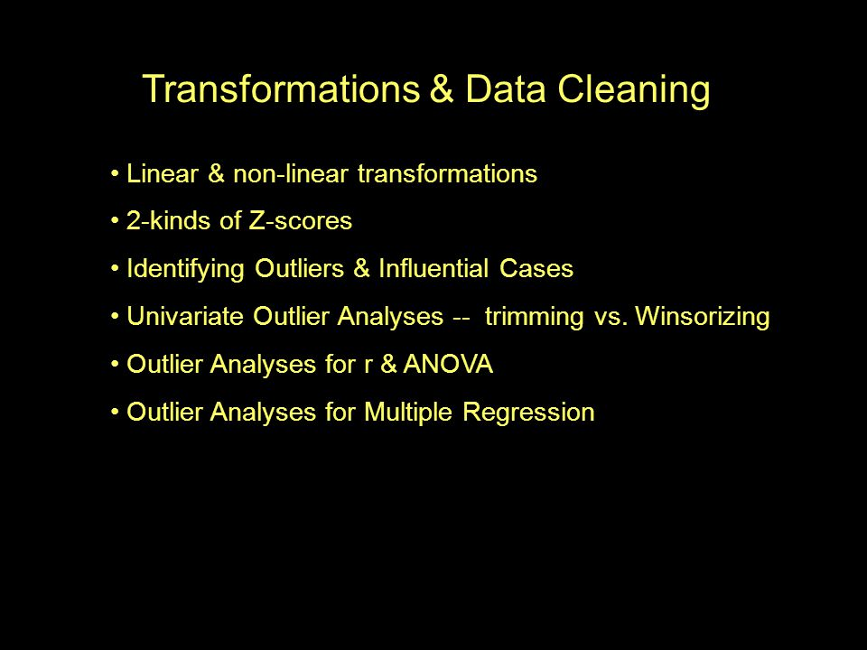Transformations & Data Cleaning