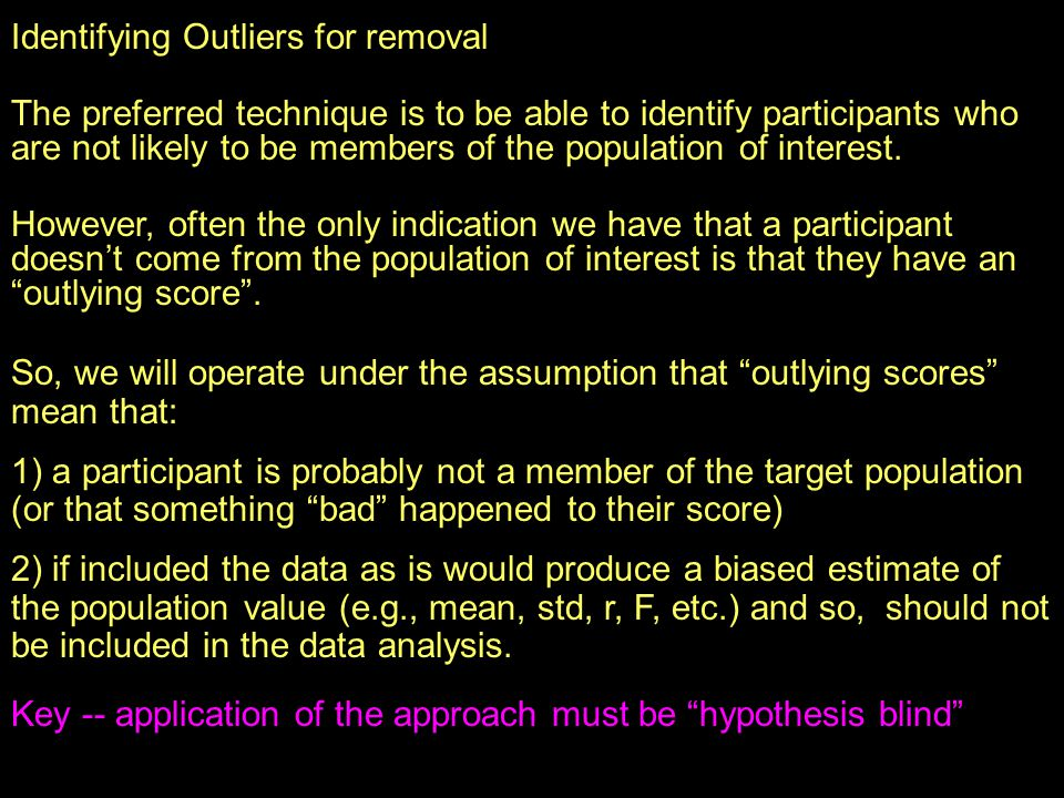 Identifying Outliers for removal