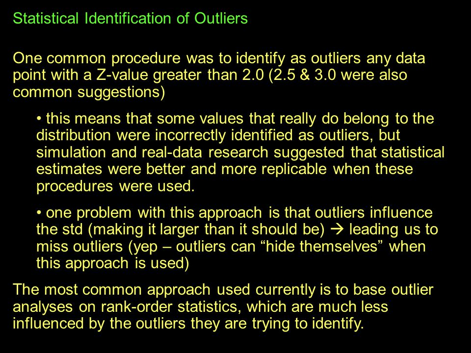 Statistical Identification of Outliers