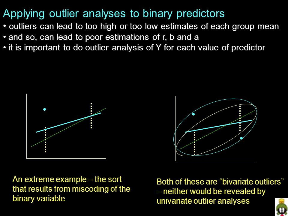 Applying outlier analyses to binary predictors