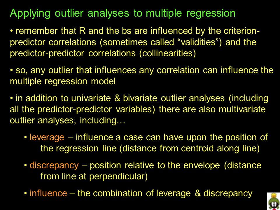 Applying outlier analyses to multiple regression