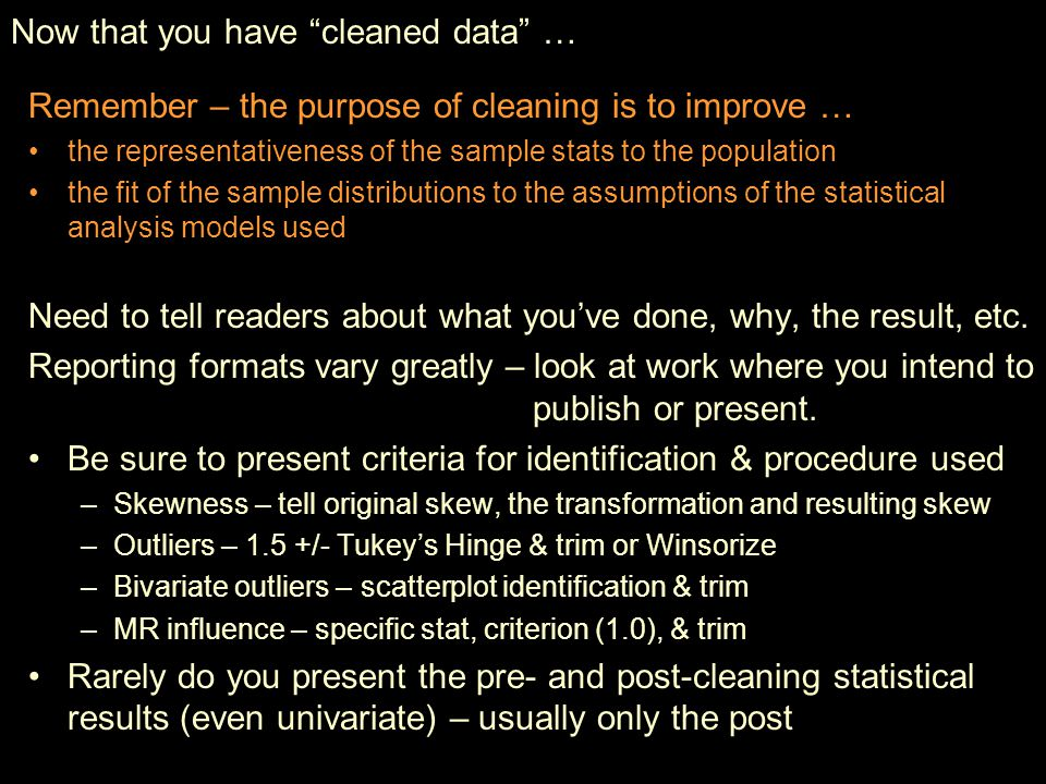 Now that you have cleaned data …