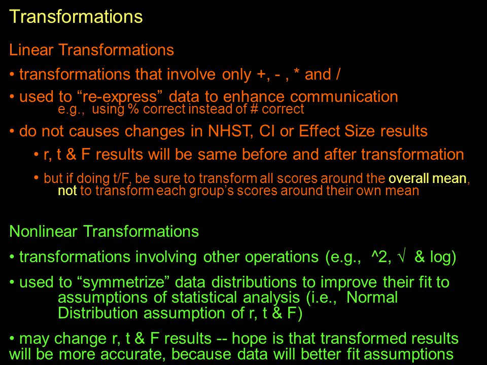 Transformations Linear Transformations
