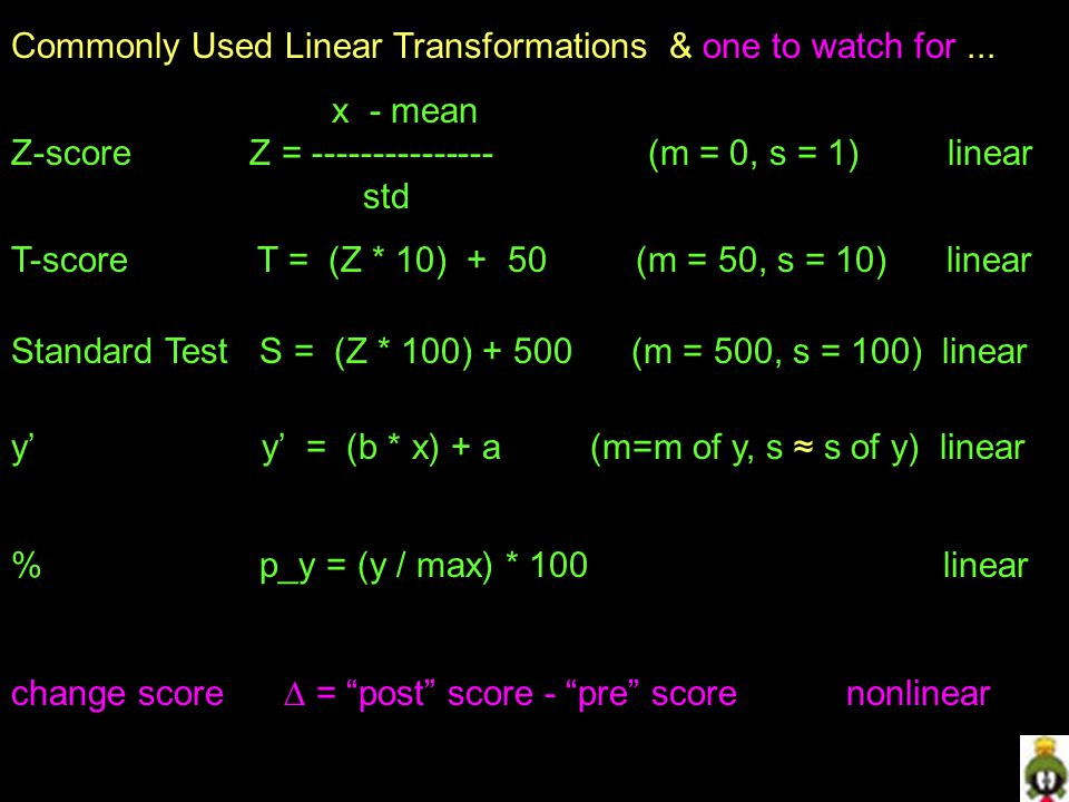 Commonly Used Linear Transformations & one to watch for ...