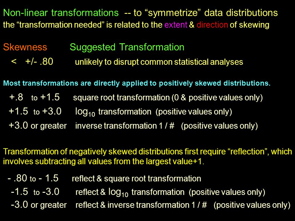 Non-linear transformations -- to symmetrize data distributions