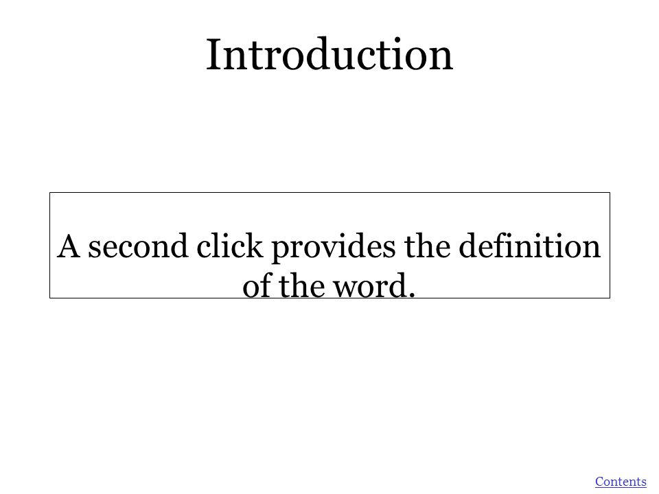 A second click provides the definition of the word.