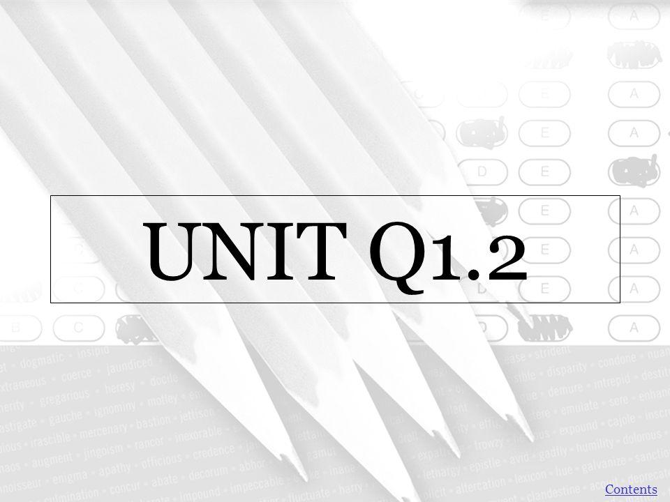 UNIT Q1.2 Contents
