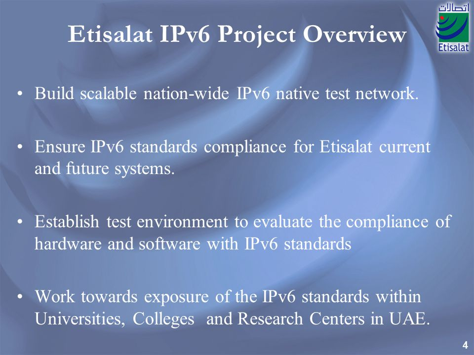 Etisalat IPv6 Project Overview