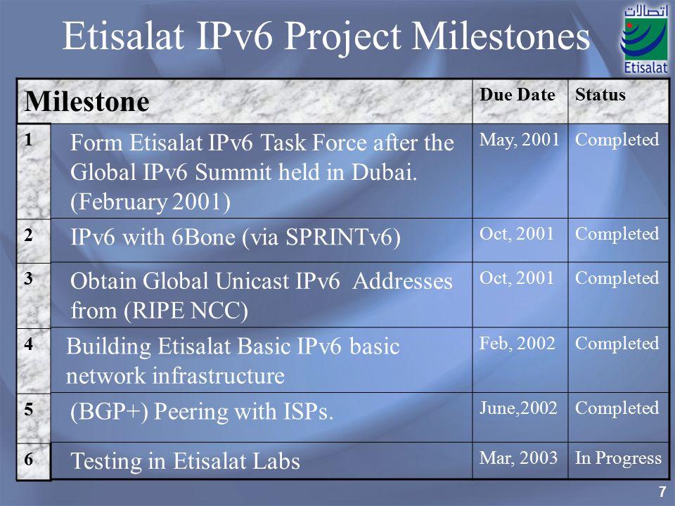 Etisalat IPv6 Project Milestones
