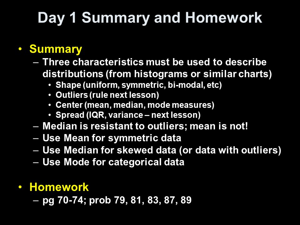 Day 1 Summary and Homework
