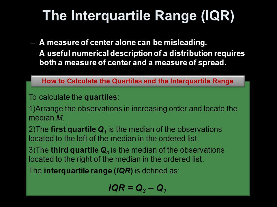 The Interquartile Range (IQR)