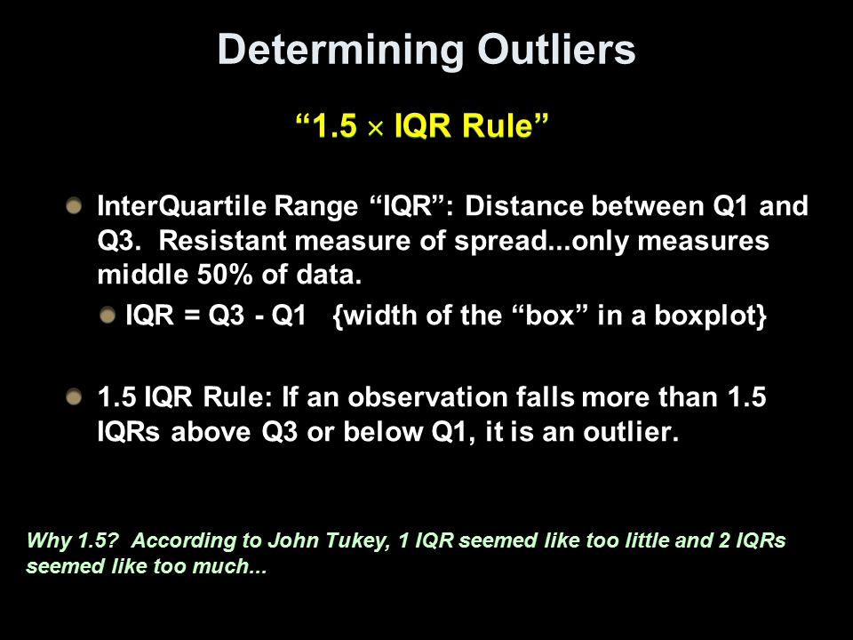 Determining Outliers 1.5  IQR Rule