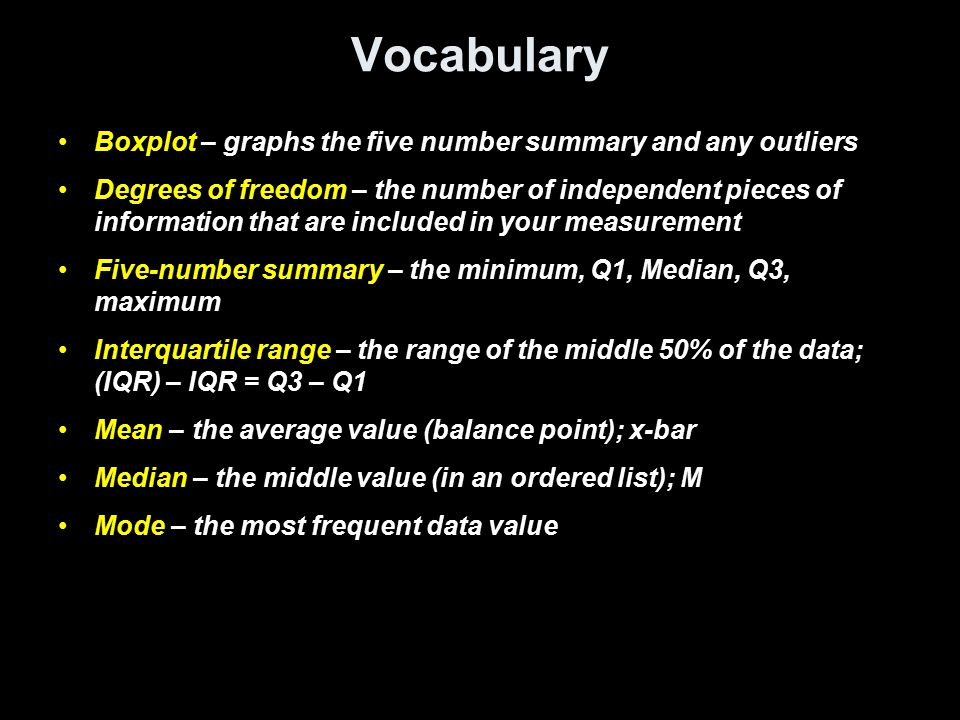 Vocabulary Boxplot – graphs the five number summary and any outliers