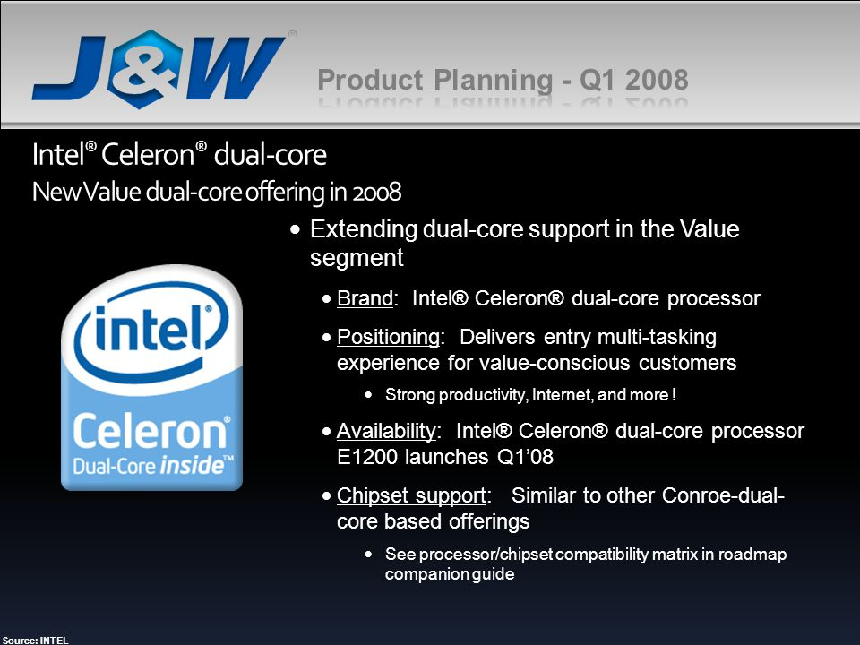 Intel® Celeron® dual-core New Value dual-core offering in 2008