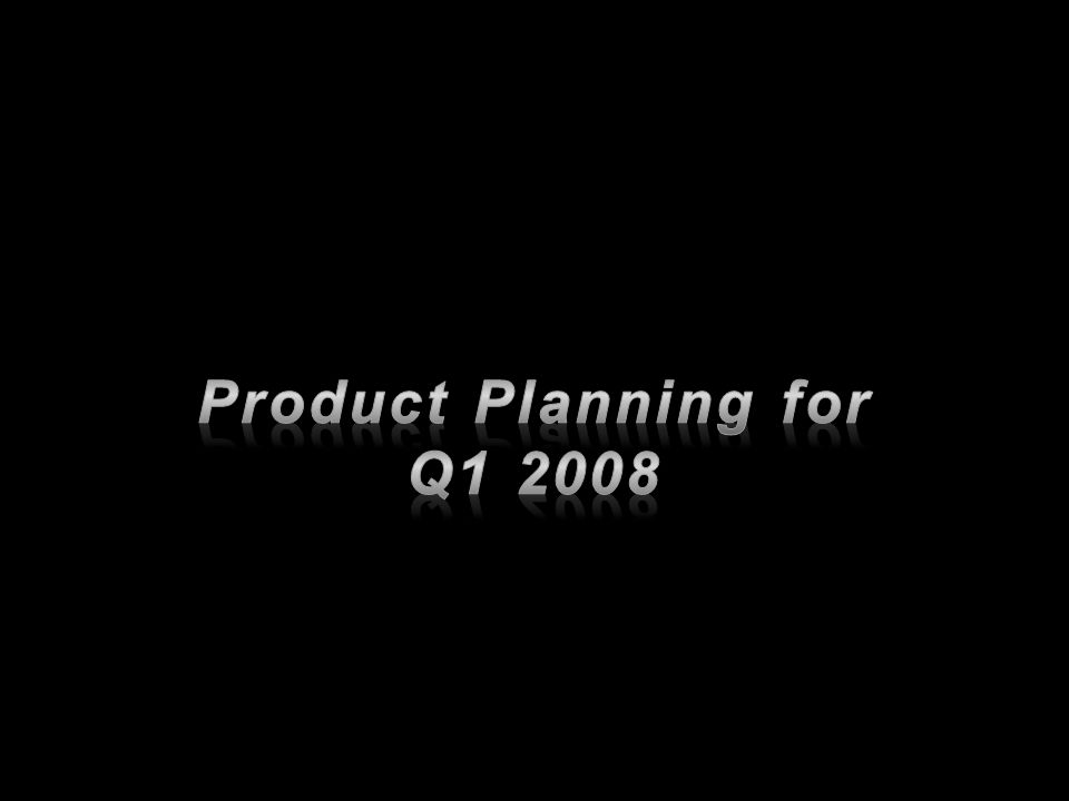 Product Planning for Q1 2008