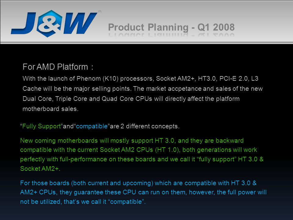 Product Planning - Q1 2008 For AMD Platform: