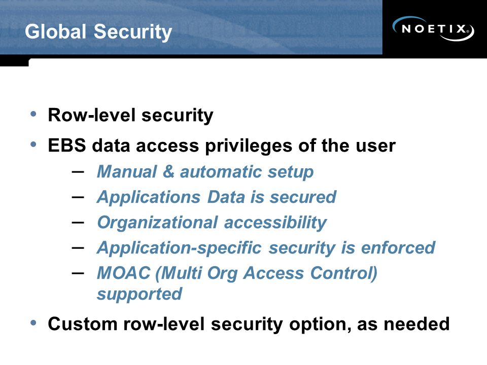 Global Security Row-level security