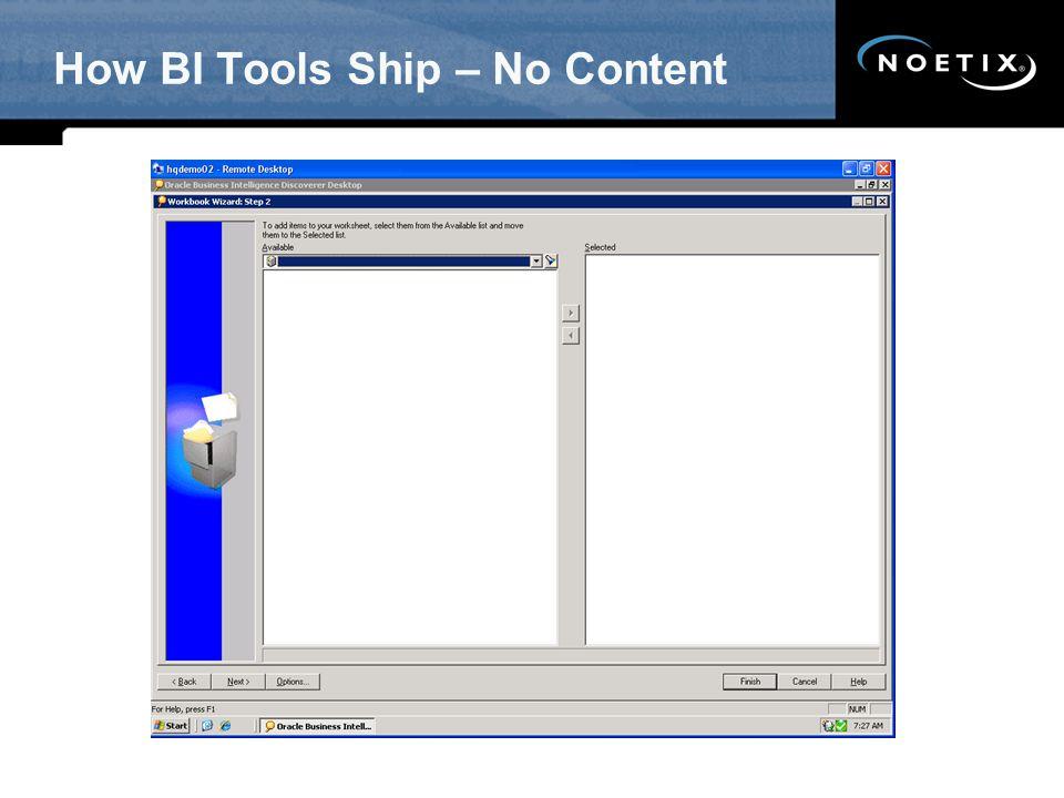 How BI Tools Ship – No Content