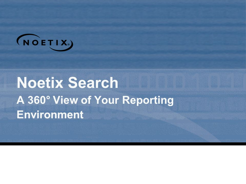 Noetix Search A 360° View of Your Reporting Environment