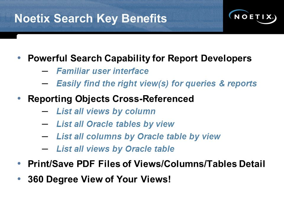 Noetix Search Key Benefits