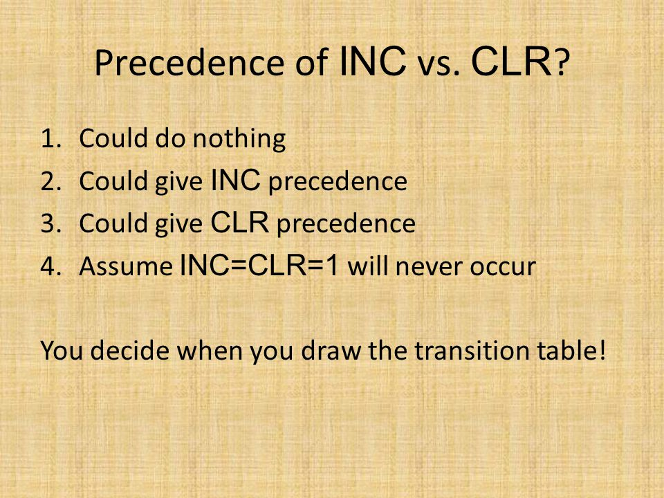 Precedence of INC vs. CLR