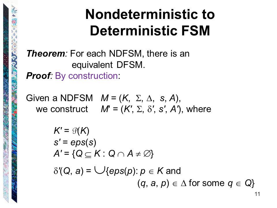 Nondeterministic to Deterministic FSM