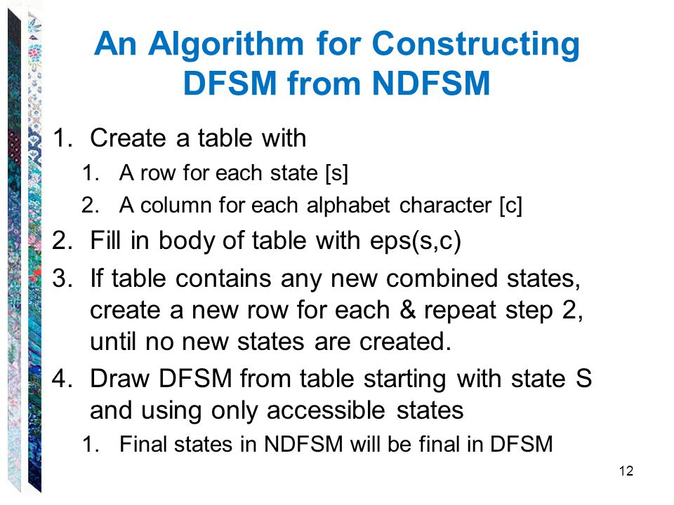 An Algorithm for Constructing DFSM from NDFSM