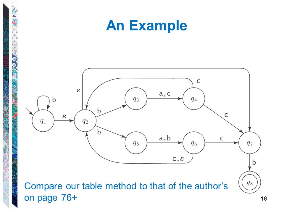 An Example Compare our table method to that of the author's on page 76+
