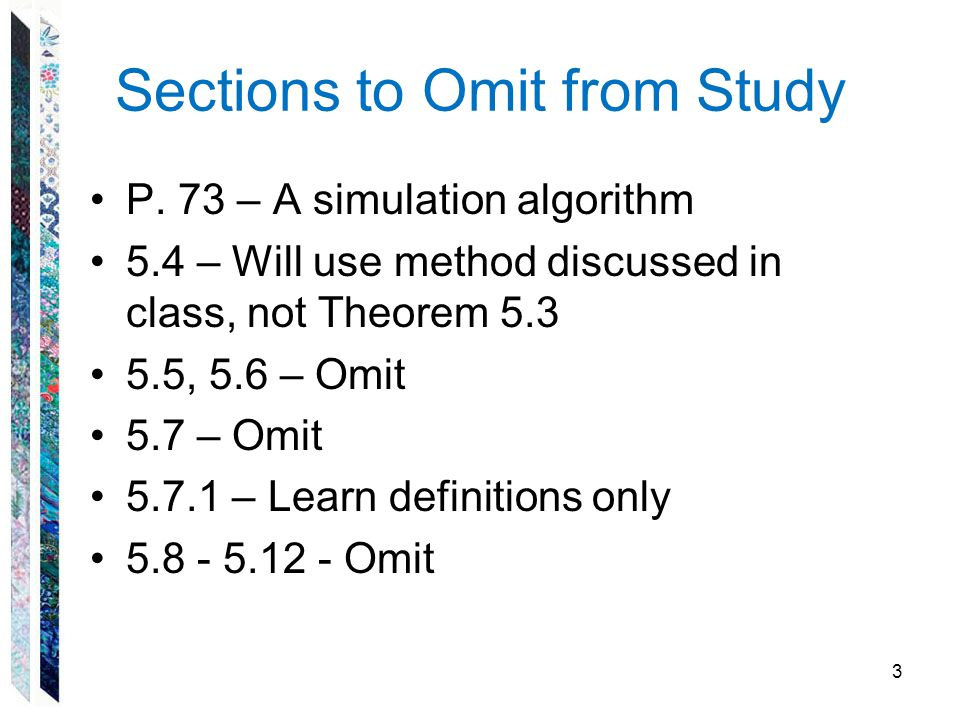Sections to Omit from Study