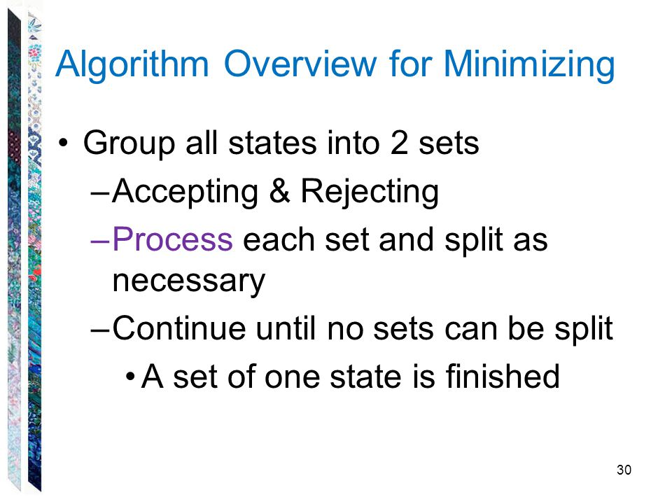 Algorithm Overview for Minimizing