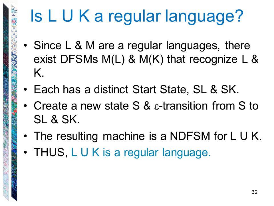 Is L U K a regular language