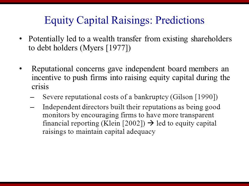 Equity Capital Raisings: Predictions