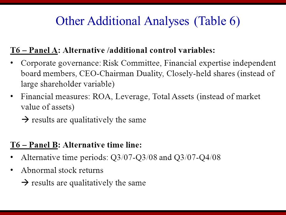 Other Additional Analyses (Table 6)
