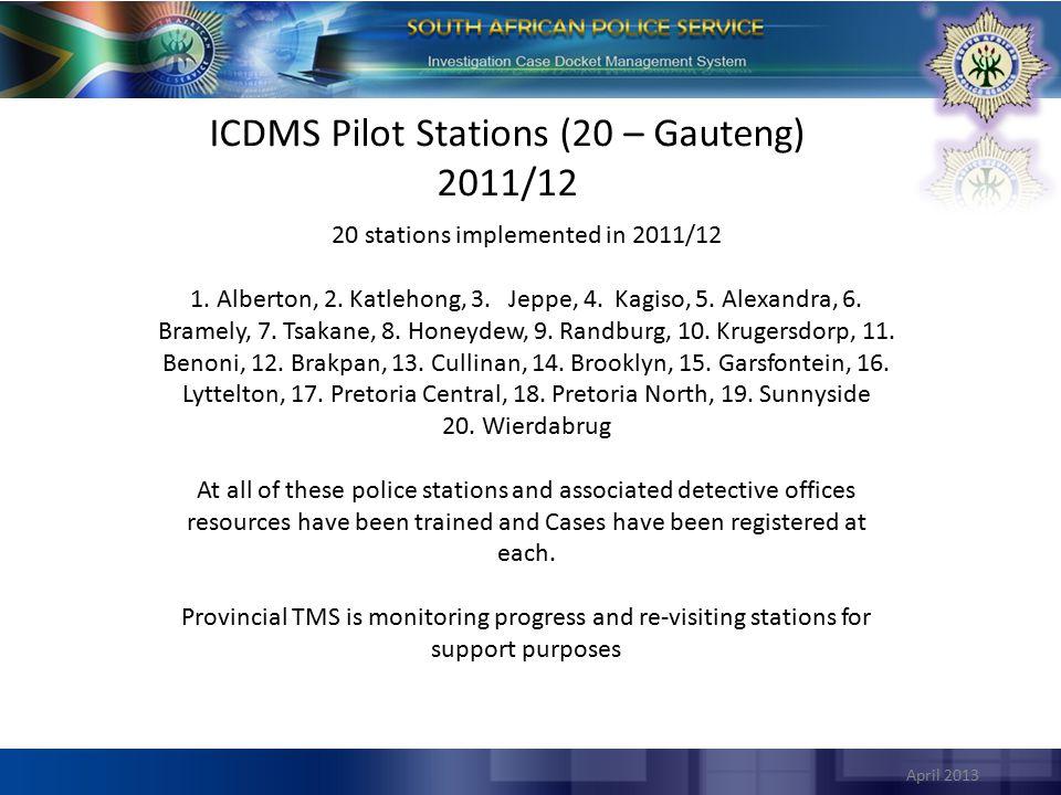 ICDMS Pilot Stations (20 – Gauteng) 2011/12