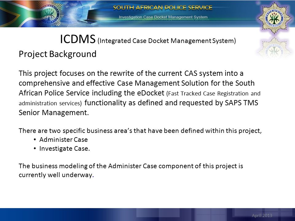 ICDMS (Integrated Case Docket Management System)