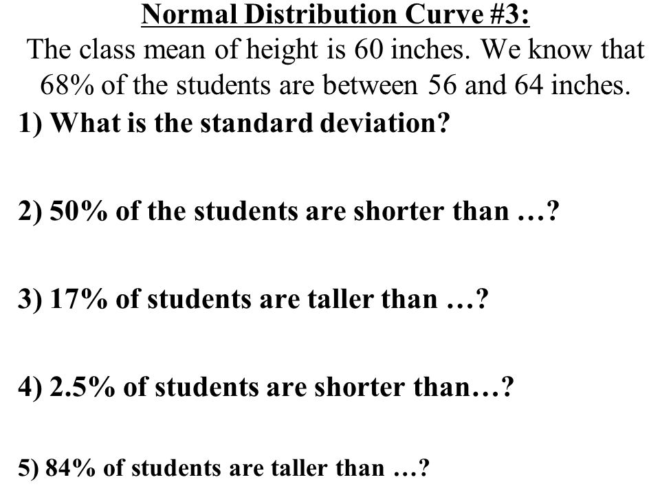 Normal Distribution Curve #3: The class mean of height is 60 inches